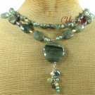 GREEN RUTILATED JASPER & FW PEARL 2ROW NECKLACE