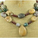 NATURAL MULTI JASPER GEMSTONE 2ROW NECKLACE