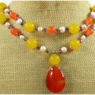 RED CARNELIAN JADE FW PEARL 2ROW NECKLACE