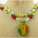 BRAZILIAN AGATE & CARNELIAN & QUARTZ 2ROW NECKLACE