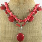 RED PINK CORAL 2ROW NECKLACE