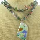 MING DYNASTY POTTERY SHARD FANCY JASPER 2ROW NECKLACE