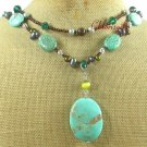 TURQUOISE & CRYSTAL & FW PEARL 2ROW NECKLACE