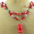 OLD RED CORAL & AFRICAN TURQUOISE CRYSTAL 2ROW NECKLACE