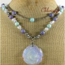 OPALITE ROSE CORAL PEARLS 2ROW NECKLACE