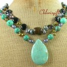 TURQUOISE BLACK AGATE PEARLS 2ROW NECKLACE