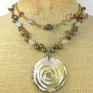 ABALONE ROSE TIGER EYE JADE PEARLS 2ROW NECKLACE