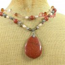 GOLDSTONE & QUARTZ & FW PEARL 2ROW NECKLACE