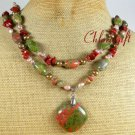 UNAKITE RED JASPER PEARLS 2ROW NECKLACE