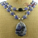 SODALITE & BLACK CRYSTAL & FW PEARL 2ROW NECKLACE