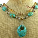 AFRICAN TURQUOISE CRYSTAL PEARLS 2ROW NECKLACE