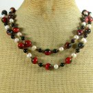 RED BLACK AGATE & FRESH WATER PEARLS 2ROW NECKLACE
