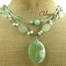 SERPENTINE JADE & CRYSTAL & PEARLS 2ROW NECKLACE