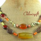AGATE CORAL JASPER BUTTER JADE LAPIS 2ROW NECKLACE