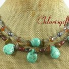 TURQUOISE TIGER EYE CRYSTAL PEARLS 2ROW NECKLACE