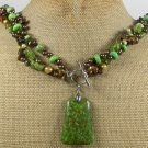 GREEN MOSAIC TURQUOISE TIGER EYE QUARTZ 3ROW NECKLACE