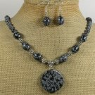 NATURAL SNOWFLAKE OBSIDIAN NECKLACE/EARRINGS SET