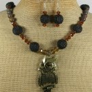 COPPER OWL & BLACK CINNABAR NECKLACE/EARRINGS SET