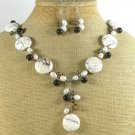 WHITE TURQUOISE AGATE FW PEARL NECKLACE/EARRINGS SET