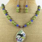 POTTERY SHARD JADE NECKLACE/EARRINGS SET