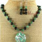 GREEN TURQUOISE JADE JASPER NECKLACE/EARRINGS SET