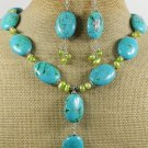 BLUE TURQUOISE & FW OLIVE PEARL NECKLACE/EARRINGS SET