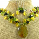 YELLOW AGATE CAT EYE CRYSTAL NECKLACE/EARRINGS SET
