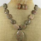 NATURAL AUTUMN JASPER NECKLACE/EARRINGS SET
