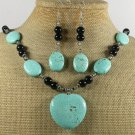 TURQUOISE & CRYSTAL NECKLACE/EARRINGS SET