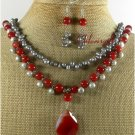 RED AGATE FRESH WATER PEARLS NECKLACE/EARRINGS SET