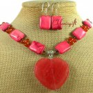 CHERRY QUARTZ CARNELIAN TURQUOISE NECKLACE/EARRINGS SET