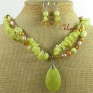 OLIVE JADE BUTTER JADE FW PEARL NECKLACE/EARRINGS SET