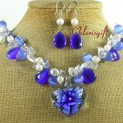 FLOWER LAMPWORK CAT EYE CRYSTAL NECKLACE/EARRINGS SET
