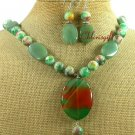 BRAZILIAN AGATE CANDY JADE NECKLACE/EARRINGS SET