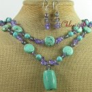TURQUOISE BLUE QUARTZ CRYSTAL NECKLACE/EARRINGS SET