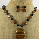 TIGER EYE BROWN AGATE CRYSTAL NECKLACE/EARRINGS SET
