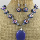 BLUE CAT EYE AGATE CLOISONNE NECKLACE/EARRINGS SET