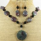 FANCY JASPER & BLACK AGATE NECKLACE/EARRINGS SET