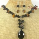 NATURAL BLACK AGATE TIGER EYE NECKLACE/EARRINGS SET