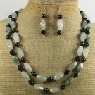 GREEN RUTILATED JASPER AGATE 2ROW NECKLACE/EARRINGS SET