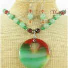 BRAZILIAN AGATE & GREEN JADE NECKLACE/EARRINGS SET