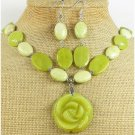 OLIVE JADE ROSE & BUTTER JADE NECKLACE/EARRINGS SET