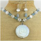 OPALITE ROSE & BLUE AGATE NECKLACE/EARRINGS SET