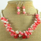 PINK CORAL & FRESH WATER PEARL NECKLACE/EARRINGS SET