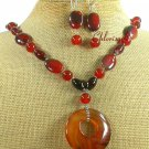 GENUINE RED AGATE NECKLACE/EARRINGS SET
