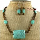 TURQUOISE TIGER EYE NECKLACE/EARRINGS SET