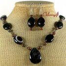 BLACK AGATE IMPERIAL JASPER NECKLACE/EARRINGS SET