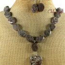 NATURAL COFFEE FLOWER JASPER NECKLACE/EARRINGS SET