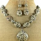 NATURAL DALMATIAN JASPER NECKLACE/EARRINGS SET