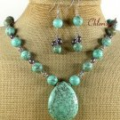 TURQUOISE FRESH WATER PEARLS NECKLACE/EARRINGS SET